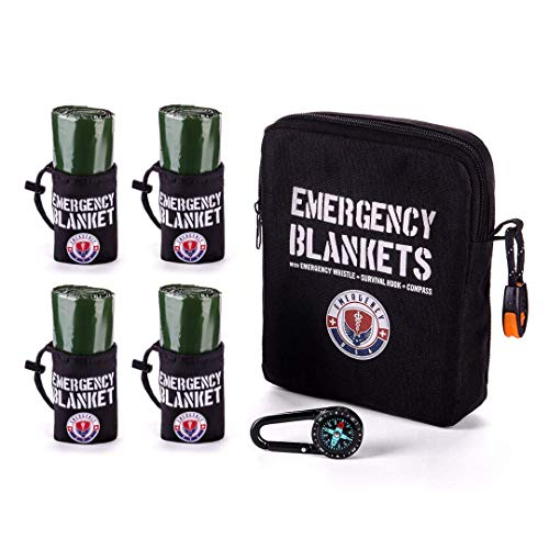Pack of 4 Emergency Blankets – First Aid Blankets – Mylar Thermal Reflective Blankets – Military Survival Blankets
