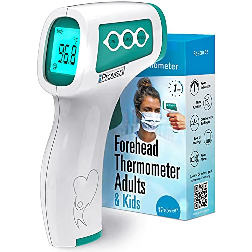 Infrared Thermometer for Adults, Kids and Babies, Touchless iProven Thermometer, 1s Instant Accurate Readings, Forehead No Touch Thermometer with Fever Alarm, Indoor, and Outdoor Use (Green)
