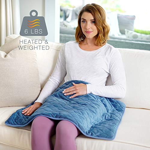"Pure Enrichment WeightedWarmth - 2-in-1 Weighted Body Pad with Warmer (32"" x 21"") 6 lbs, 3 Warmth Settings, BPA-Free, Non-Toxic Beads and Soft Micromink — Ideal for Back and Shoulder Pain or Cramps"