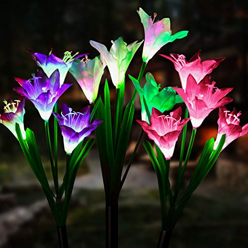 Outdoor Solar Garden Lights [3 Pack] - WdtPro Upgraded Waterproof Solar Powered Lights with 12 Lily Flower, 7 Colors Changing Solar Decorative Lights for Garden, Patio (Purple, White & Pink)