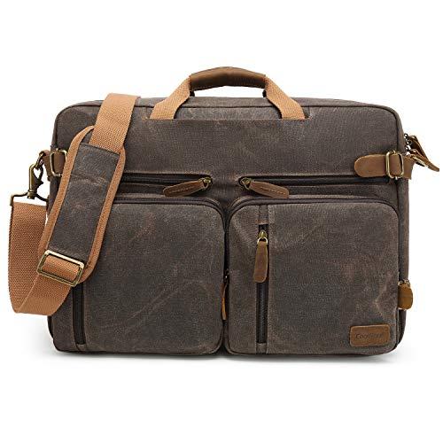 CoolBELL Laptop Messenger Bag Vintage Shoulder Bag Convertible Backpack Retro Briefcase Versatile Travel Bag Fits 17.3 Inch Laptop for Men/College/Business / (Waxed Canvas Brown)
