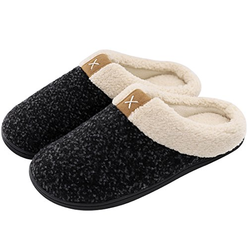 ULTRAIDEAS Men's Cozy Memory Foam Slippers with Fuzzy Plush Wool-Like Lining, Slip on Clog House Shoes with Indoor Outdoor Anti-Skid Rubber Sole(Space Black,11-12)