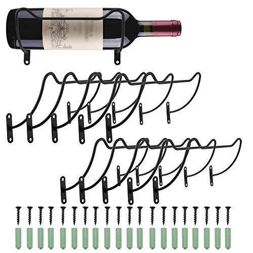 HighFree Wall Mounted Wine Racks Iron Wine Bottle Display Holder Rack Hanging Wine Organizer Rack with Screws for Beverages/Liquor Bottles Storage Pack of 10