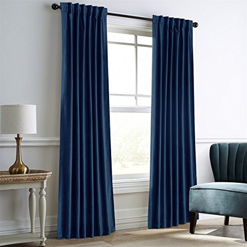Dreaming Casa Royal Blue Velvet Room Darkening Curtains for Living Room Thermal Insulated Rod Pocket Back Tab Window Curtain for Bedroom 2 Panels 52' W x 84' L