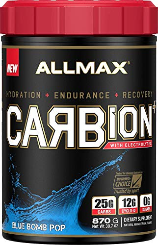 ALLMAX Nutrition CARBion+ with Electrolytes + Hydration, Gluten-Free + Vegan Certified, Blue Bomb Pop, 1.91 lbs (870 g)