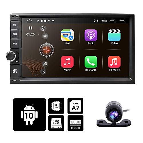 hizpo Android 10 Double Din Audio Video Stereo Head Unit 2GB RAM 16GB ROM 7 inch 2 DIN Touch Screen Support GPS WiFi Backup Camera USB SD Android/iPhone Mirrolink Steering Wheel Control