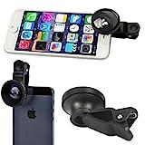 Selfie Camera Lens Kit Clip Fisheye Wide Angle Macro for iPhone 6 6S Plus, 5S 5C SE - Samsung Galaxy S7, S6, Edge, Edge+, S5, S4, S3, Active, Galaxy Note 5 4 3 2 - LG G2 G3 G4 V10