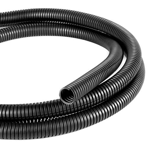 Yecaye 26FT 1/2' Split Wire Loom Tubing, Wire Harness Wrap Cover Sleeve Conduit, Cord Protector Loom from Pets, Flexible Wire Tubing Protect Wires for Automotive, Office, Home - Black