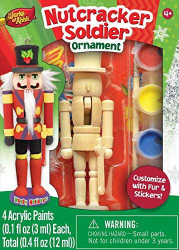 MasterPieces Works of Ahhh Christmas Ornament Acrylic Paint Kit, Nutcracker Soilder, For Ages 4+