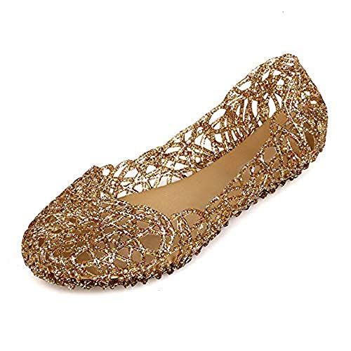 Domucos Womens Sandals Crystal Glitter Plastic Jelly Hollowed Flat Sandals Beach Pumps Shoes-Gold-8.5-40