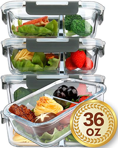 [5-Pack,36 Oz]Glass Meal Prep Containers 2 Compartments Portion Control with Upgraded Snap Locking Lids Glass Food Storage Containers, Microwave, Oven, Freezer and Dishwasher (4.5 Cups)