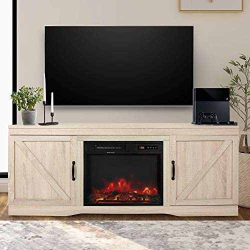 ENSTVER Fireplace TV Stand with Barn Door,Wood Media Entertainment Console for Living Room (White Oak)