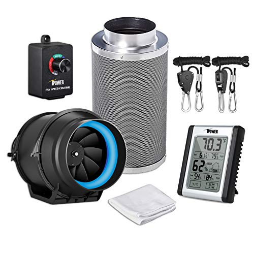 iPower GLFANXEXPSET6CHUMD 6 Inch 350 CFM Inline Carbon Filter with Fan Speed Controller and Temperature Humidity Monitor Grow Tent Ventilation, 6' Kits, Black