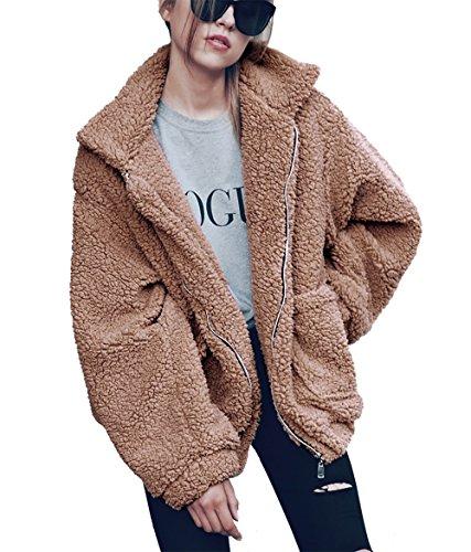 PRETTYGARDEN Women's Fashion Long Sleeve Lapel Zip Up Faux Shearling Shaggy Oversized Coat Jacket With Pockets Warm Winter (Khaki, Large)