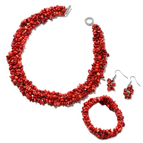 Shop LC Delivering Joy Coral Bracelet Earrings Necklace Set Stainless Steel Fashion Jewelry for Women Size 6.5' 18'