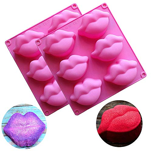 2 Pack Hot Lips Soap Molds, 3D Sexy Red Lips Kisses Collection Silicone Molds Chocolate Candy Bath Bomb Lotion Bar Mould Ice Cube Tray Cupcake Cake Baking Pan Wedding Party Supplies