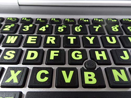 Fluorescent Keyboard Stickers. Commercial Grade Inlays (Not Printed Letters) Plus USB Light. Will Not Wear or Fade. XLarge Symbols Great for Sight Impaired. (U.S. English Keyboard)
