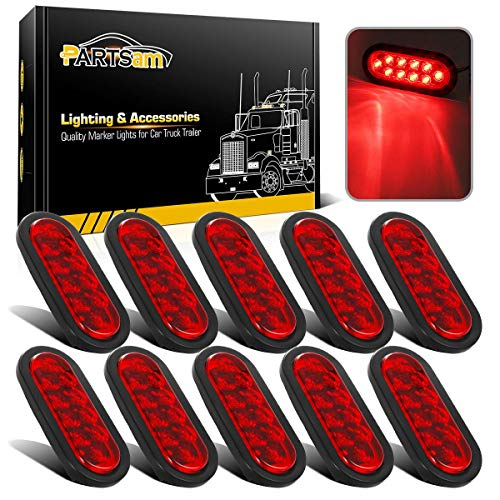 Partsam 10Pcs 6' Inch Oval Led Trailer Tail Lights Red 10 Diodes Grommet and Plug Waterproof Turn Stop Tail Brake Trailer Lights Replacement for RV Trucks