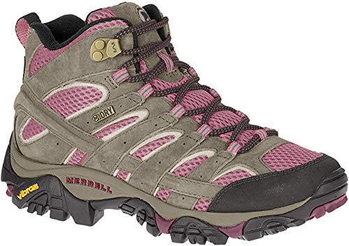 Merrell Women's Moab 2 Mid Waterproof Hiking Boot, Boulder/Blush, 9 M US