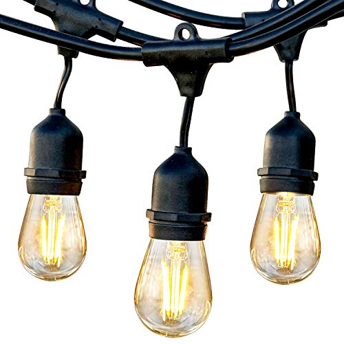 Brightech Ambience Pro - Waterproof LED Outdoor String Lights - Hanging, Dimmable 2w Vintage Edison Bulbs - 24 Ft Commercial Grade Patio Lights Create Cafe Ambience In Your Backyard - black