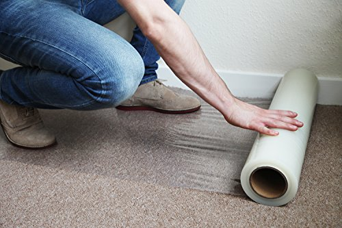 Kenley Carpet Protector Self Adhesive Plastic Protection Film 24' X 200' for Stairs Rug Carpet Floor Runner - Heavy Duty Puncture & Water Resistant - Reverse Wind Roll