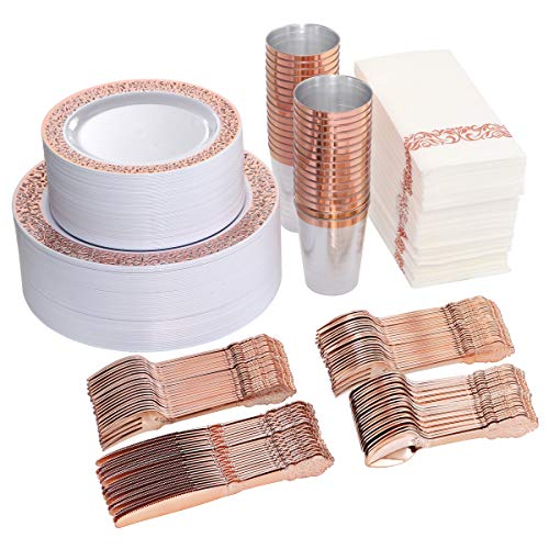 I00000 400 Pieces Set Includes: 100 Rose Gold Plastic Plates,150 Rose Gold Silverware-50 Forks, Knives and Spoons Each, 50 Disposable Cups, Paper Straw and Napkins Each