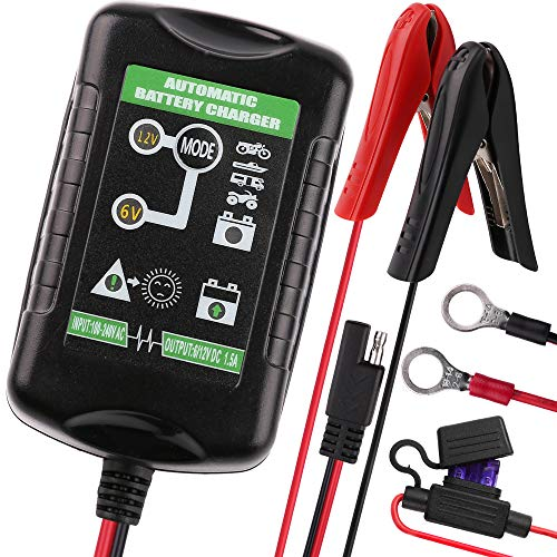6V 12V 1.5A Trickle Battery Charger, Universal Power Battery Maintainer for Car, Automotive, Vehicle, Motorcycle, Lawn Mower, Marine, Boat, Snowmobile, ATV, RV, SLA AGM GEL CELL Lead Acid Battery