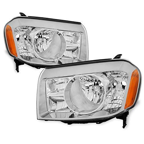 For Honda Pilot SUV Clear Headlights Head Lamps Driver Left + Passenger Right Side Replacement Pair Set