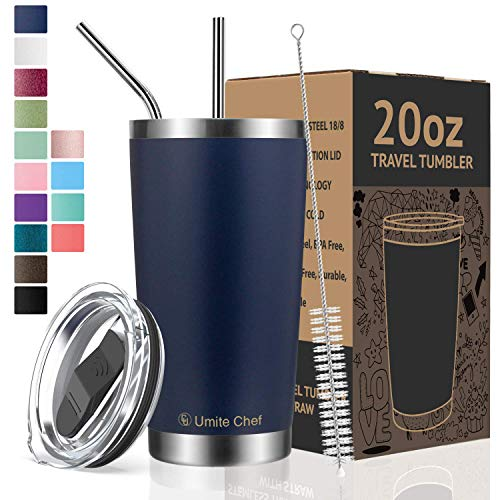 Umite Chef Tumbler Double Wall Stainless Steel Vacuum Insulated Travel Mug with Lid, Insulated Coffee Cup, 2 Straws, for Home, Outdoor, Office, School, Ice Drink, Hot Beverage (Navy, 20 oz)