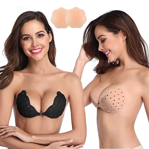 Niidor Sticky Bra, 2 Pack Breathable Strapless Bra Adhesive Push Up Backless Bras for Women-B