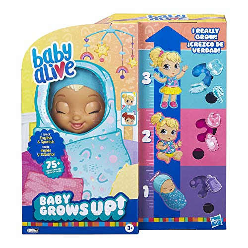 Baby Alive Baby Grows Up (Happy) - Happy Hope or Merry Meadow, Growing and Talking Baby Doll, Toy with 1 Surprise Doll and 8 Accessories