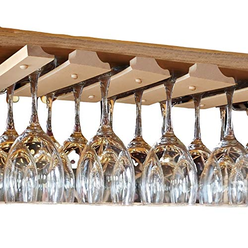 SMITCO Wine Glass Holder - Under Cabinet Storage Hanging Stemware Rack - Space Saving Unfinished Wooden Bar Organizer Shelf for 12 Glasses or Glassware (Double) - 11 Inches Deep x 20 Inches Wide