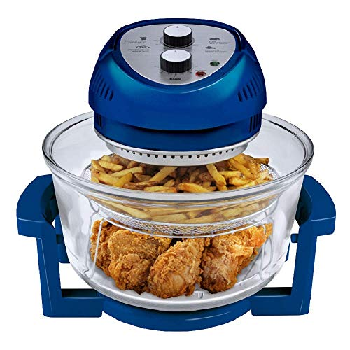Big Boss Oil-less Air Fryer, 16 Quart, 1300W, Easy Operation with Built in Timer, Dishwasher Safe, Includes 50+ Recipe Book - Blue