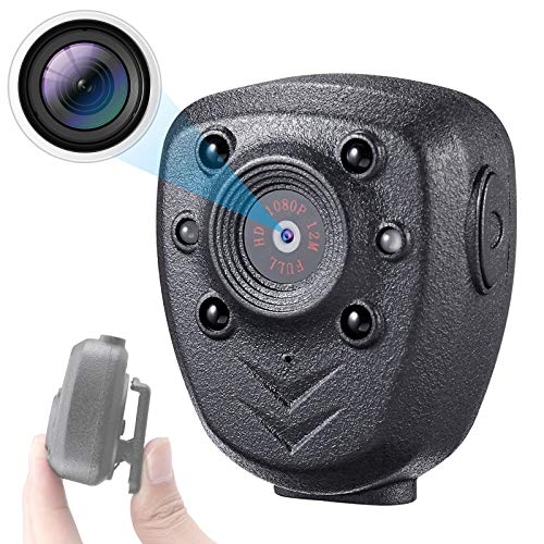 Mini Body Camera Video Recorder, HD 1080P Camera with Night Vision, Small Wearable Police Cam Built-in 32GB Memory Card, 5 Hours Working Time for Home, Office, Law Enforcement, Security Guard, Sports