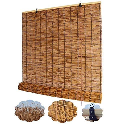 Natural Reed Window Blinds, Indoor Patio Curtains, Bamboo Roll Up Shades Sun Shade, Anti-UV/Breathable,for Furniture Decoration, Available in 53 Sizes