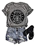 NATAY Womens Basic Witch Letters Print Short Sleeve O-Neck Casual T Shirt Tops Blouse … (Large, Grey)