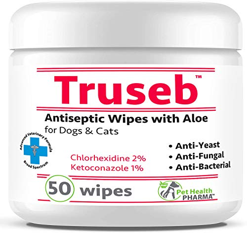 Truseb   #1 Chlorhexidine Wipes with Ketoconazole and Aloe for Dogs, Cats and Horses Antifungal & Antiseptic Medicated 50 Count Dermatological Pads Hot Spots Itchy Paws Skin Rashes Dermatitis Ringworm