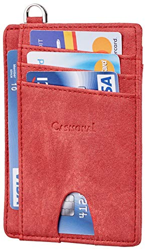 Casmonal Slim Minimalist Front Pocket Wallets RFID Blocking Credit Card Holder for Men & Women(Castle Red)