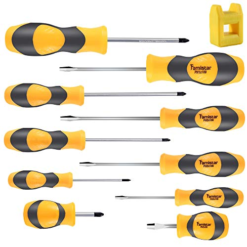 Magnetic Screwdriver Set 10 PCS,Famistar Professional Cushion Grip 5 Phillips and 5 Flat Head Tips Screwdriver for Repair Home Improvement Craft