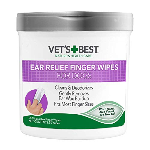 Vet's Best Ear Relief Finger Wipes | Ear Cleansing Finger Wipes for Dogs | Sooths & Deodorizes | 50 Disposable Wipes