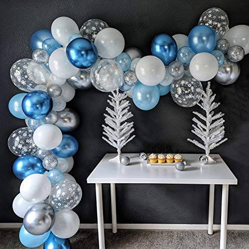 Frozen Inspired Snowflake Balloon Garland Arch Kit, Let it Snow Winter Onederland 1st Birthday Baby Shower Party Supplies, Ice Snow Princess Blue White Silver Birthday Balloon Decorations 94Pcs