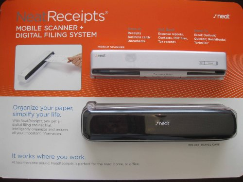 NeatReceipts Mobile Scanner and NeatWorks software Digital Filing System with a Deluxe Trave Case