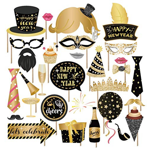Kristin Paradise 25Pcs New Years Eve Photo Booth Props with Stick, 2020 NYE Theme Selfie Props, NY Party Supplies, Photography Backdrop Decorations Kit