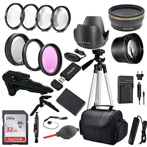 Commander Optics Premium DSLR Camera Accessory Bundle with 58MM Filters, Lenses, 32GB Sandisk SD Card and More for Canon Rebel T6, T7, T3, T5, T100, 2000D and EOS 4000D 58MM Lens Kit LP-E10 Battery