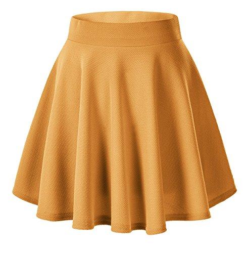 Urban CoCo Women's Basic Versatile Stretchy Flared Casual Mini Skater Skirt (XS, Turmeric)
