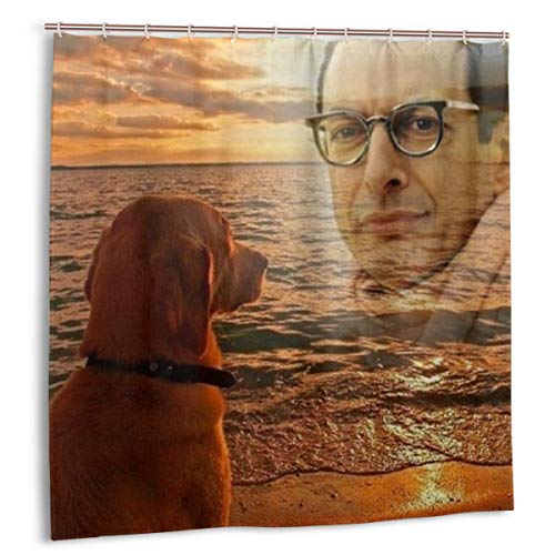 Funny Jeff Goldblum with Dog Shower Curtain Waterproof Polyester Fabric Shower Curtain Set (72x72 in)