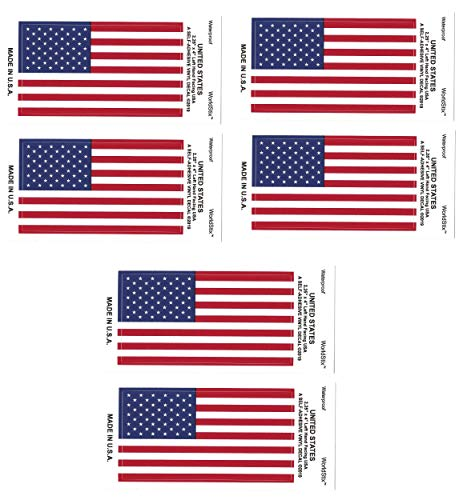 Made in The USA - Pack of 6 USA (American) Flag Sticker Decals 2.25' x 4', United States of America Waterproof Vinyl Self-Adhesive American Flag Stickers