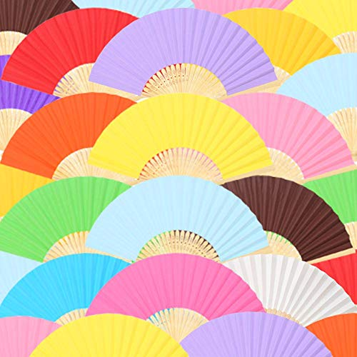 Johouse Hand Held Paper Fans Bamboo Folding Fans Handheld Folded Fan for Church Wedding Gift, Party Favors, DIY Decoration (12 Pack, Multicolor)