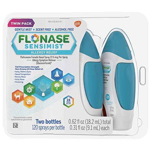 Flonase Sensimist Allergy Relief Nasal Spray, 240 Count 2 bottles(0.62fl.oz) of 0.31fl.oz