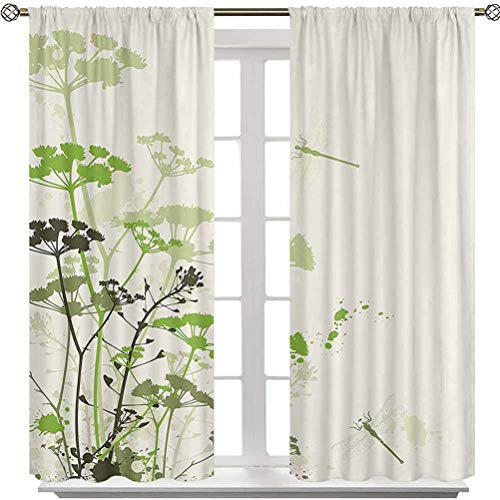 Aishare Store Black Out Curtains, Minimalist Foliage and Herbs Illustration with Dragonflies Winged Insects Mystic Animal, 2 Panels 63 Inches Long Rod Pocket Home Decorative Drapes for Bedroom